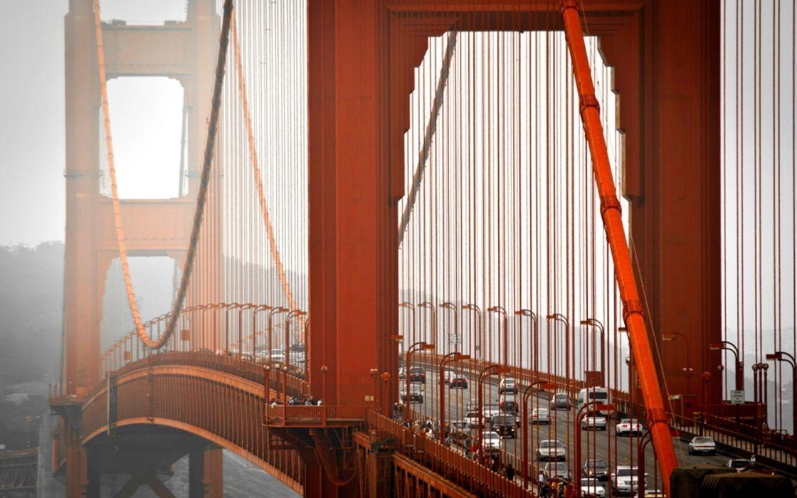 Golden Gate San Francisco world architecture bridges traffic roads vehicles cars trucks wallpaper