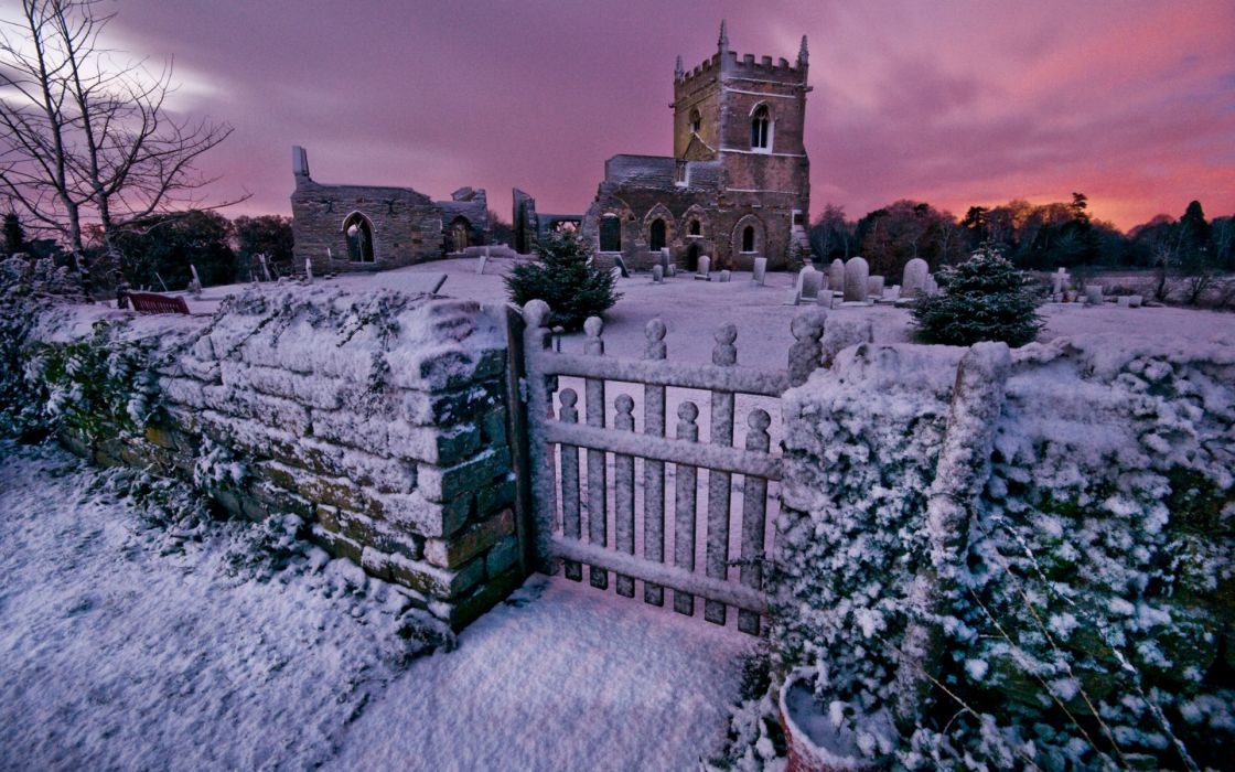 St Marys Church Nottinghamshire cemetery church ruins evening Winter sunset fence grave headstones gothic world architecture buildings decay dark spooky wallpaper