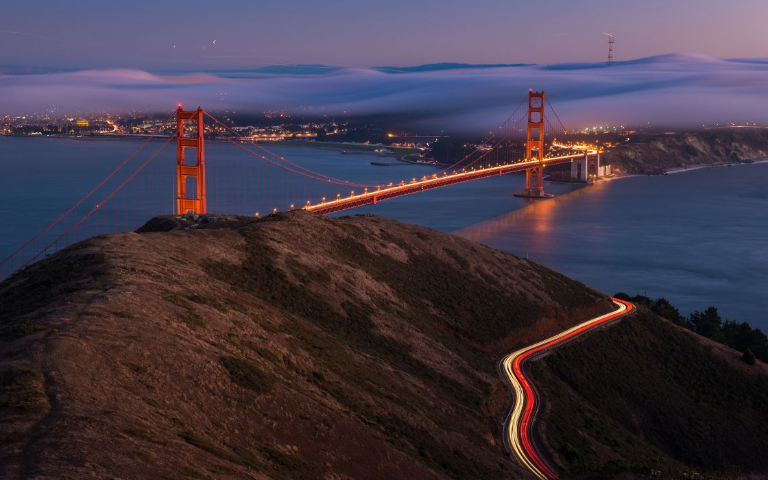 Golden Gate san fran world architecture bridges roads timelapse lapse cities buildings fog night lights scenic view wallpaper