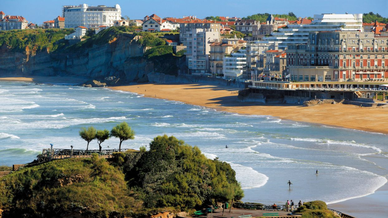 Biarritz Basque Country France world cities architecture buildings resort nature beaches ocean sea harbor waves surf trees vacation travel wallpaper
