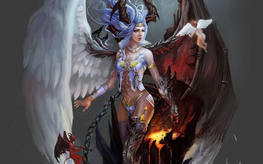 fantasy demon angel wings chains fire magic good evil god goddess art wallpaper