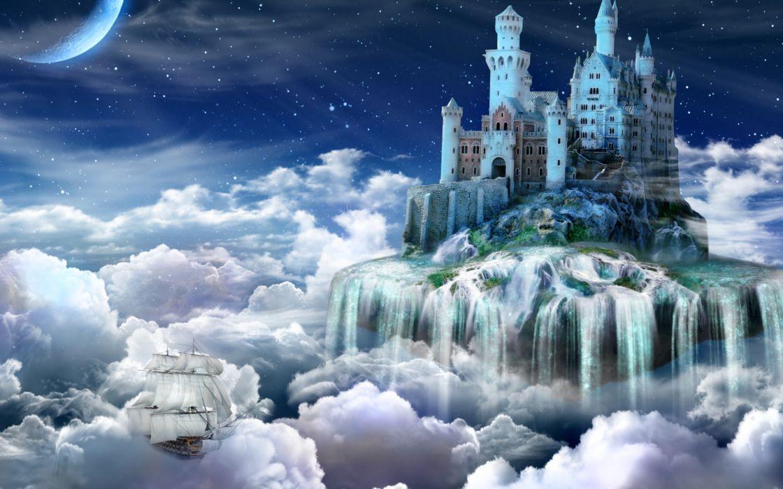 fantasy dream art cg digital art manipulation magic clouds sky vehicles ship boat waterfall islands tower island stars moon wallpaper