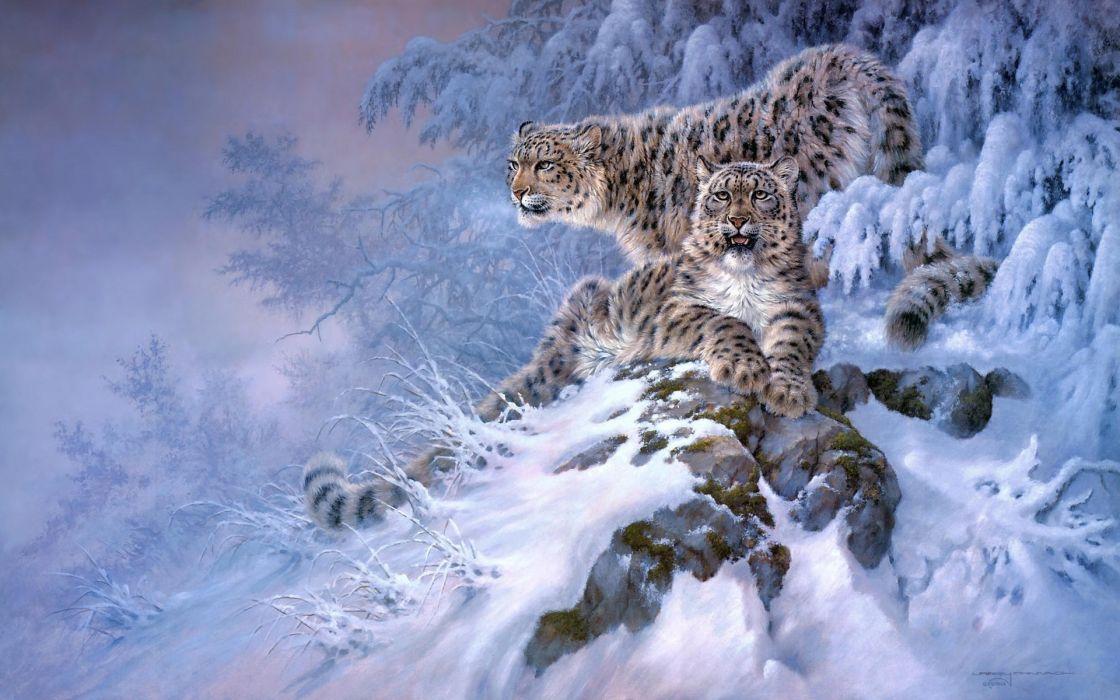 Snow Leopards animals cats predator art paintings winter snow seasons mountains hill wallpaper