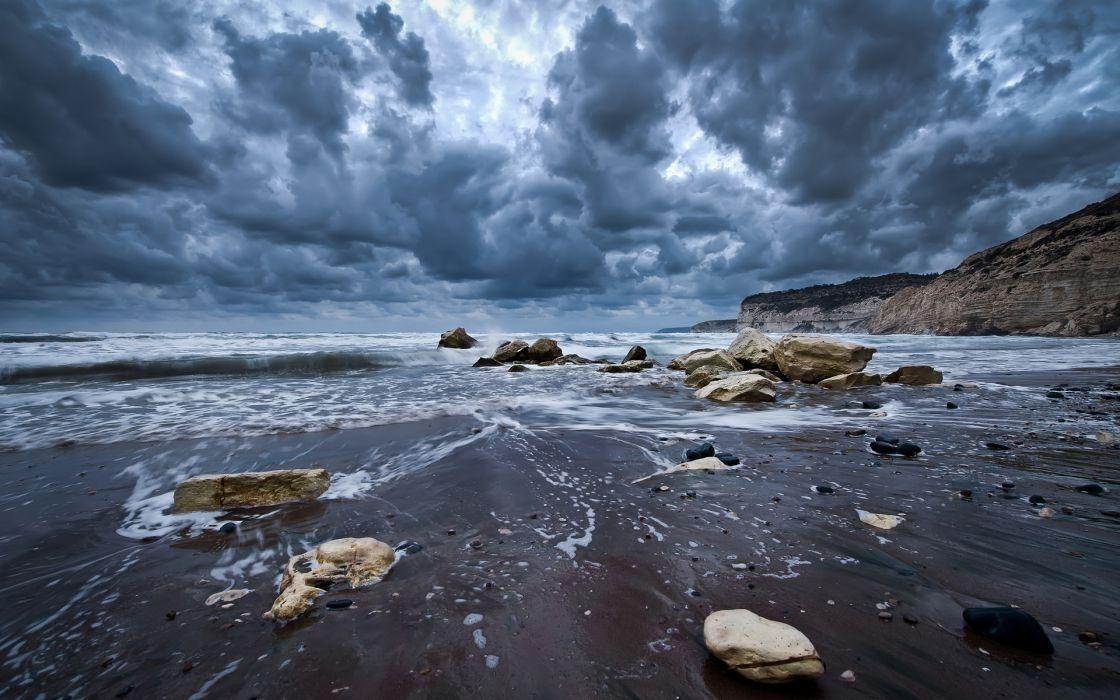 nature beaches sand rocks shore coast ocean sea tide waves landscapes seascape scapes sky clouds hdr wallpaper