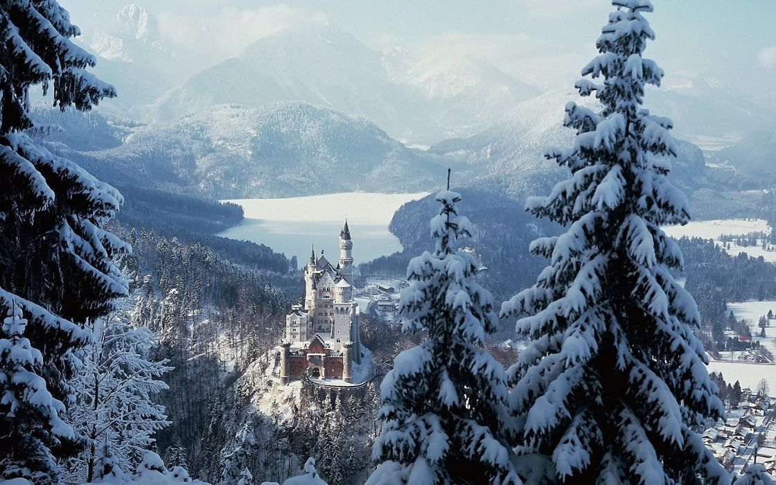 Neuschwanstein Castle winter germany bavaria castle bavaria architecture buildings tower nature landscapes trees forest wood lakes winter snow seasons mountains haze scenic wallpaper