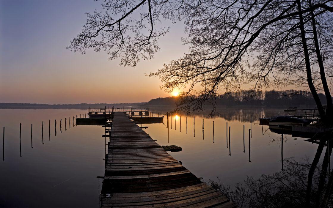 nature lakes dock pier water reflection shore sky sunrise sunset trees wallpaper