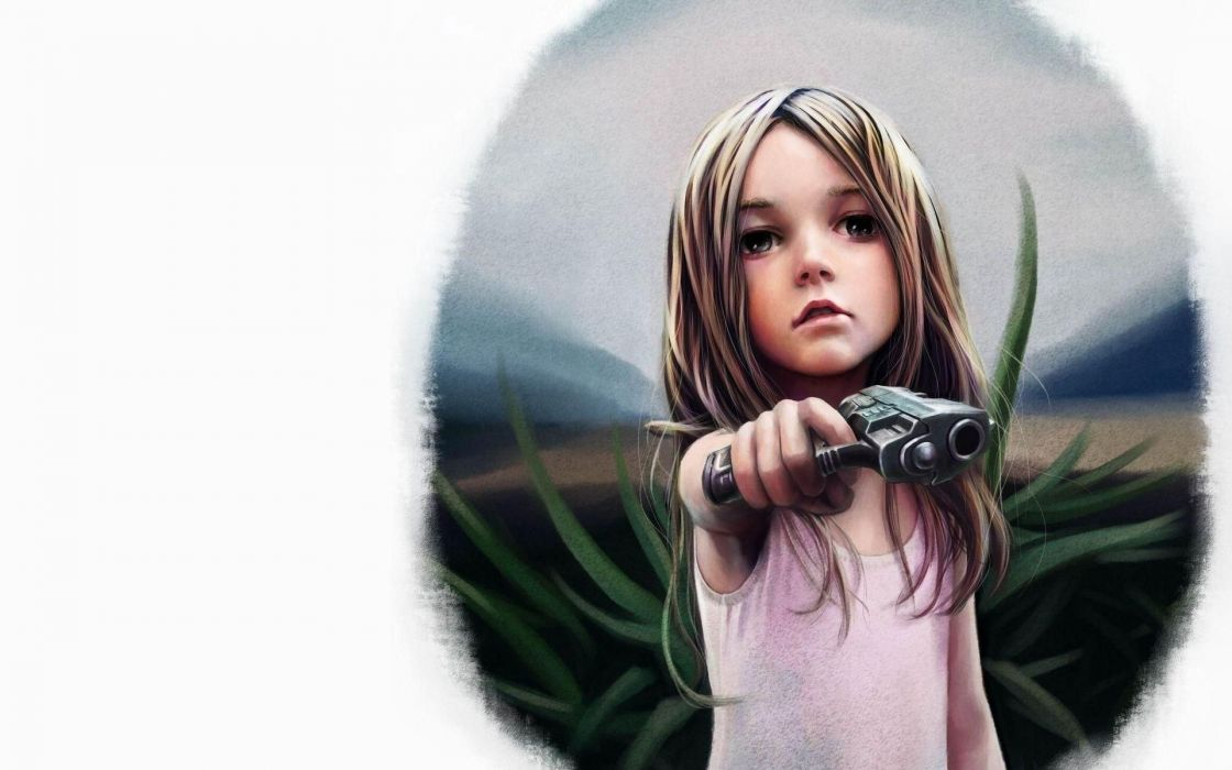 girls mood kids children babies blondes art books weapon gun pistol sad sorrow dark spooky wallpaper