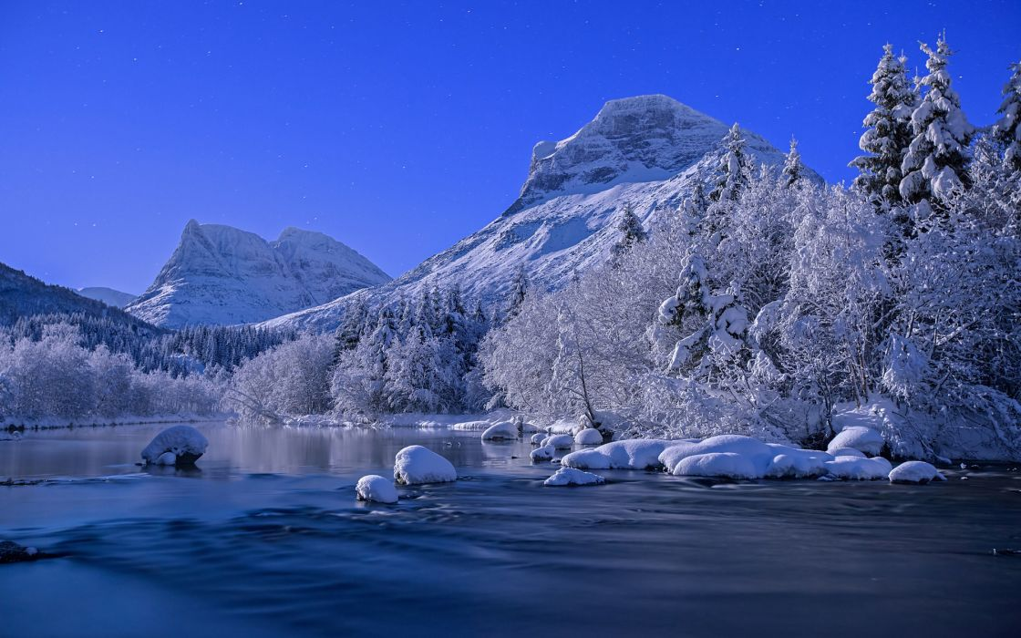 nature landscapes rivers water mountains snow winter cold peaks sky wallpaper