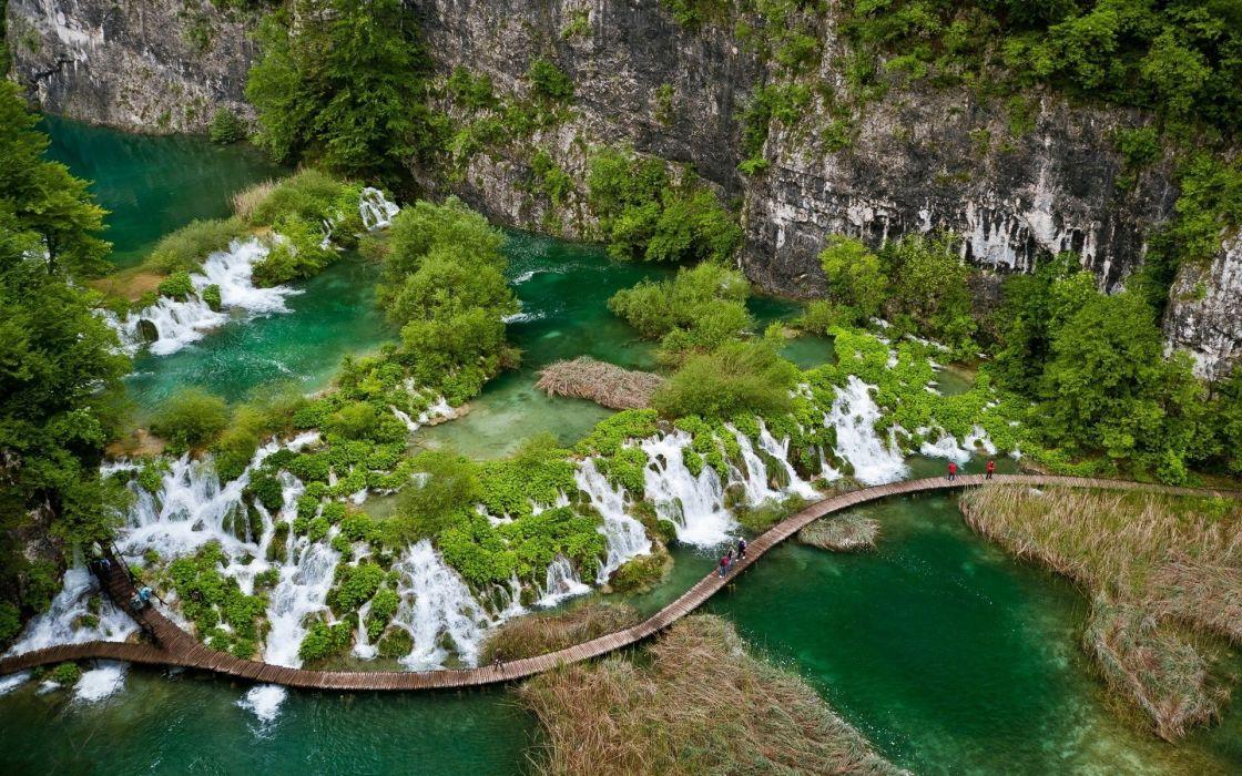 waterfall path trail rivers people wallpaper