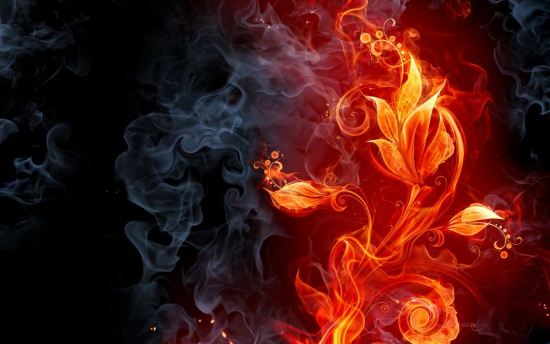abstract fire flames smoke flowers cg digital art color wallpaper
