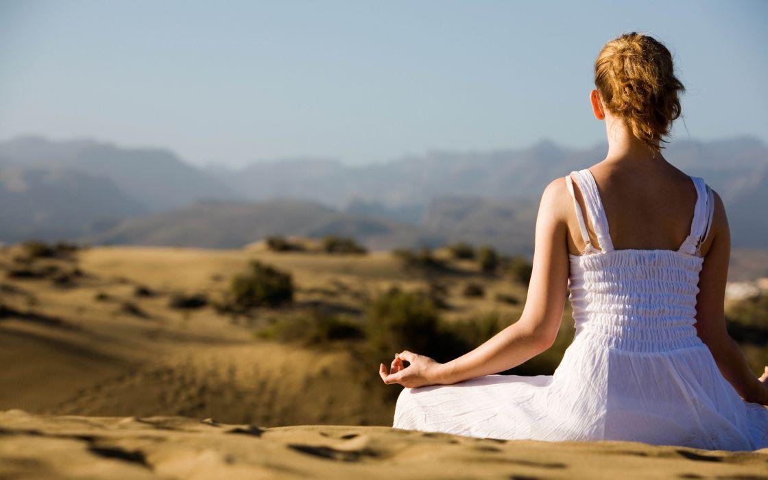 Yoga lifestyle women females girls blondes landscape desert wallpaper