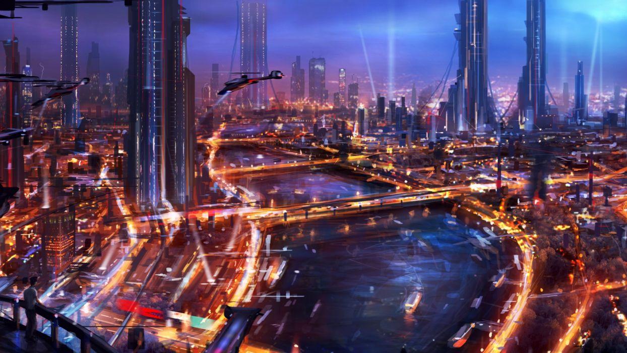 sci fi science fiction cities futuristic architecture bridges vehicles spacecraft spaceships art paintings cg digital art color rivers wallpaper