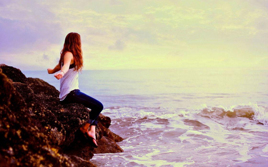 people women females girls models babes sensual shore ocean sea waves sky clouds redhead mood wallpaper