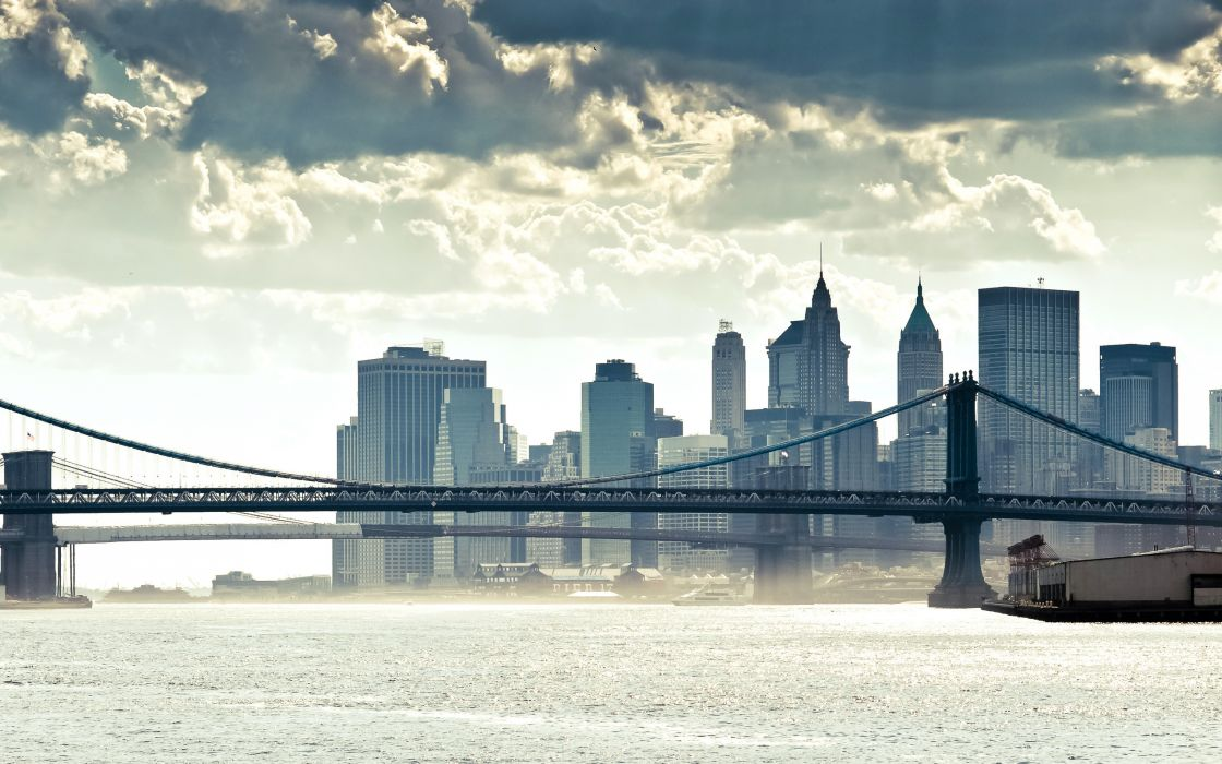 new york manhattan world cities architecture buildings skyscrapers bridges sky clouds cityscape skyline wallpaper