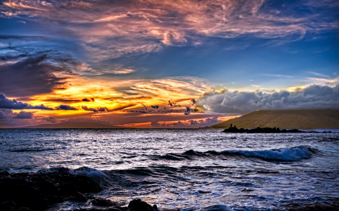 nature seascape ocean sea waves ocean sea sky clouds sunset sunrise color wallpaper