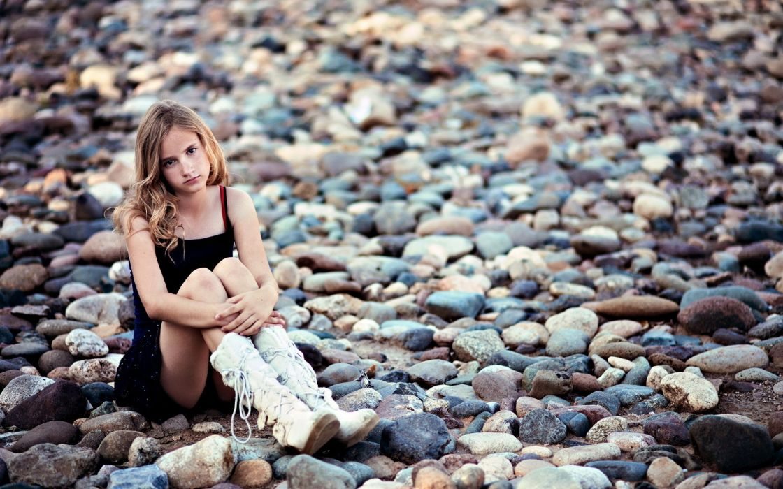 women females girls babes blondes legs mood rocks pebbles style wallpaper