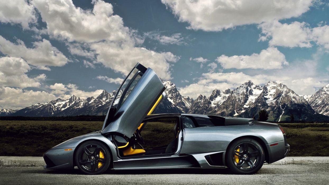 Lamborghini vehicles cars supercar exotic sky clouds roads wallpaper