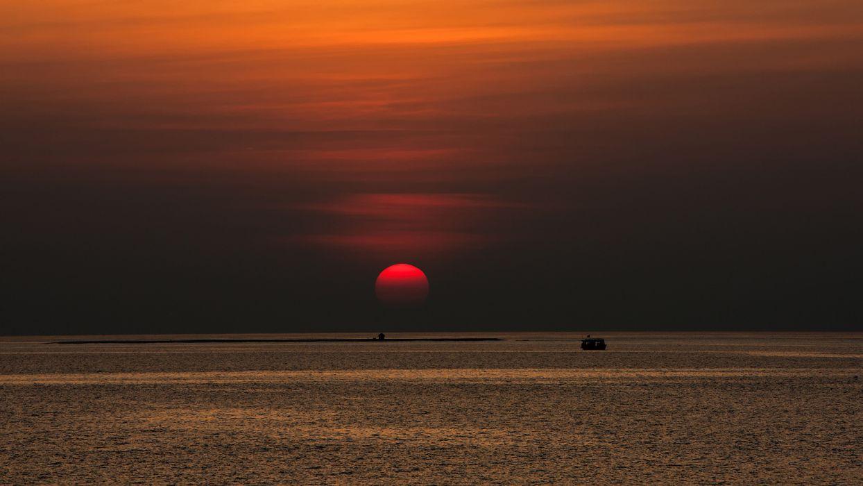 nature seascape sunset sunrise ocean sea sky clouds vehicles boats ship wallpaper