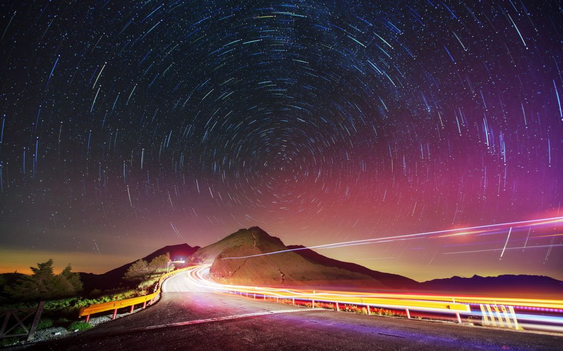 world roads vehicles cars traffic lights time lapse lapse rialing fence nature landscapes sky stars mountains photography sci fi science fiction wallpaper