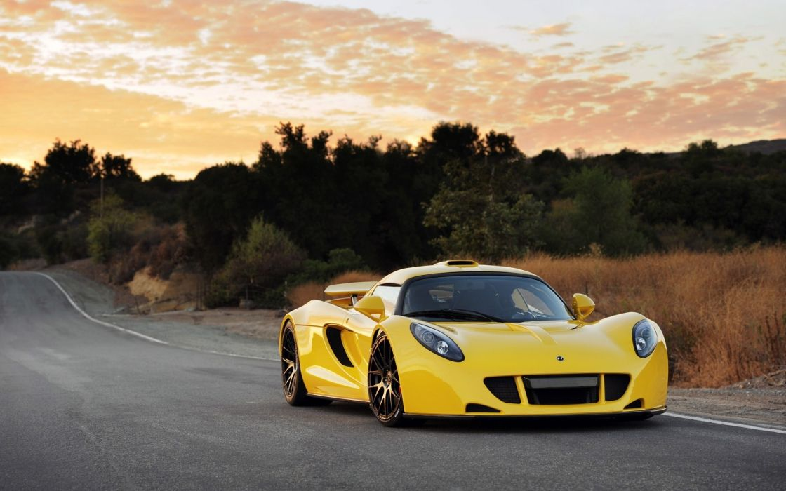 Hennessey Venom GT supercar exotic yellow vehicles cars auto roads stance wallpaper