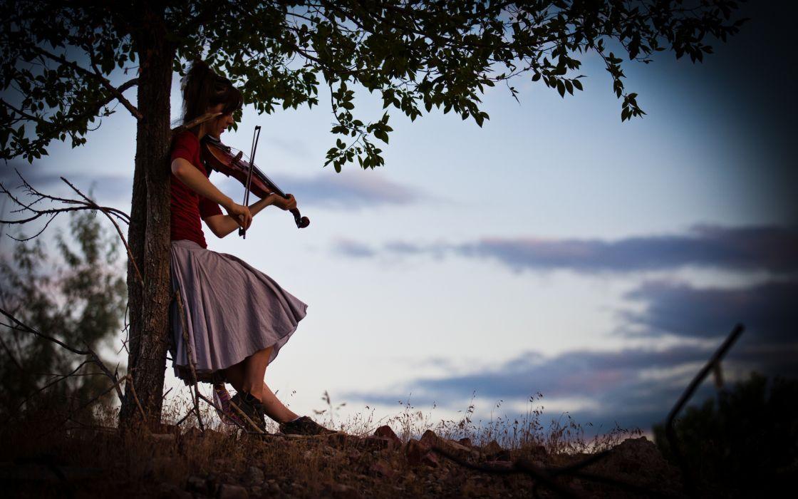 Lindsey Stirling musicain violin musical instrument mood emotion women females girls brunette sky clouds silhouette wallpaper