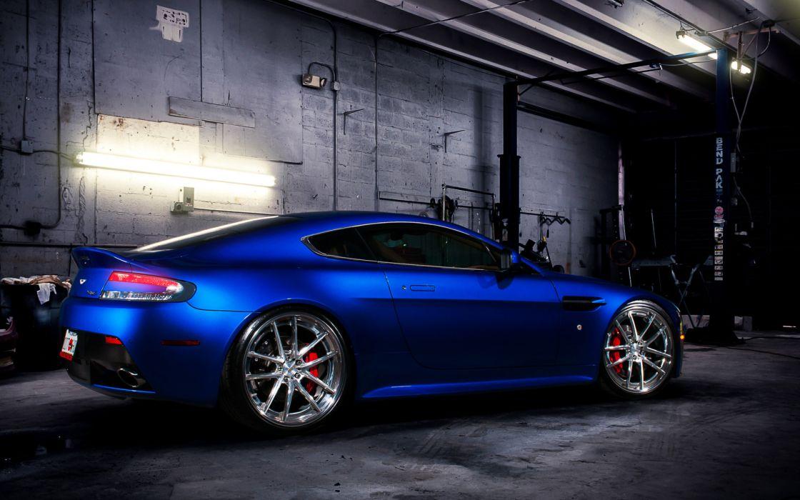 Aston Martin vehicles cars blue tuning wheels garage wallpaper