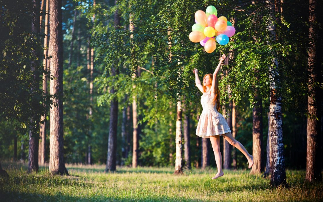 mood emotion balloon color trees forest nature women females girls babes model sensual wallpaper