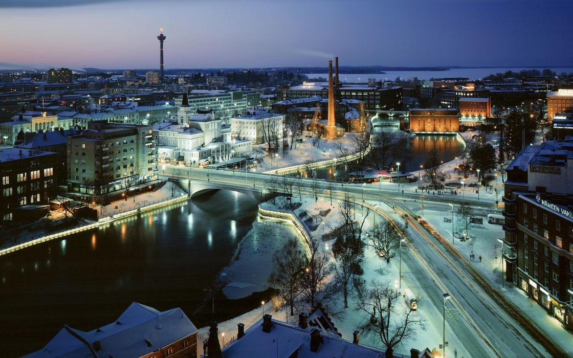Tampere Finland world architecture buildings cities tower hdr bridges roads skyline cityscape panorama rivers winter snow seasons wallpaper