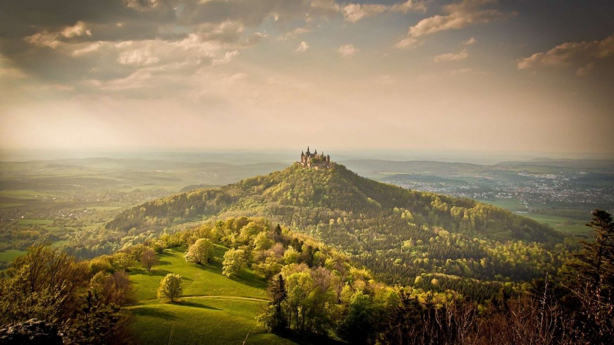 hohenzollern world architecture buildings castles nature landscapes trees forest hills sky clouds scenic wallpaper