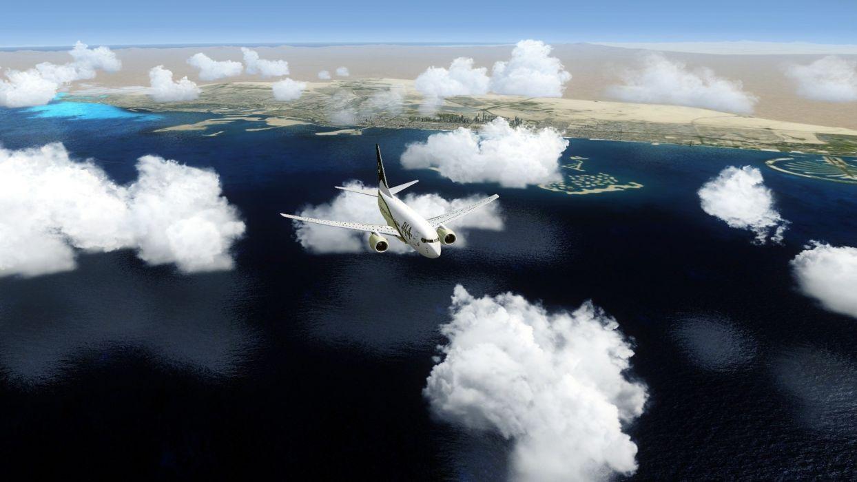 vehicles aircraft aiplanes plane sky clouds flight fly jet landscapes shore coast wallpaper
