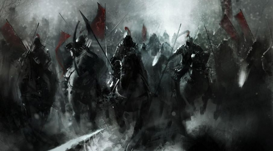 mongols fantasy knight warrior soldiers animals horses asian oriental battle war weapons katana sword standard dark art wallpaper
