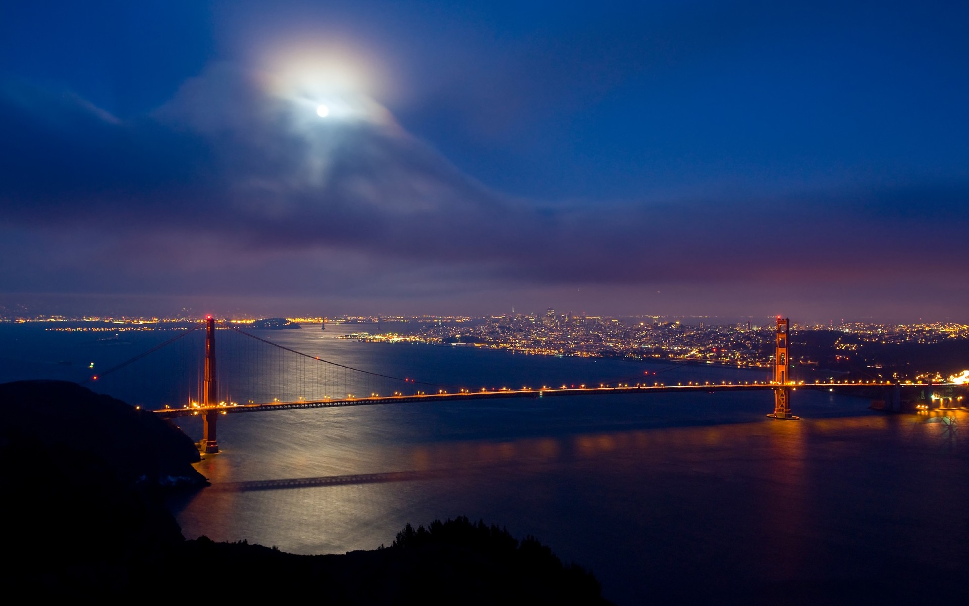 Golden gate san francisco world architecture bridges cities golden gate san francisco world architecture bridges cities skyline cityscape night lights bay water vehicles traffic sky clouds moon wallpaper 1920x1200 gumiabroncs Image collections