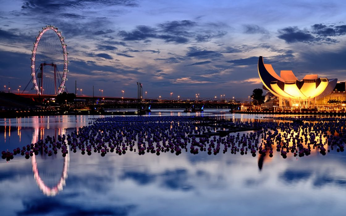 singapore amusement park hdr night lights architecture buildings water marina reflection sky clouds wallpaper