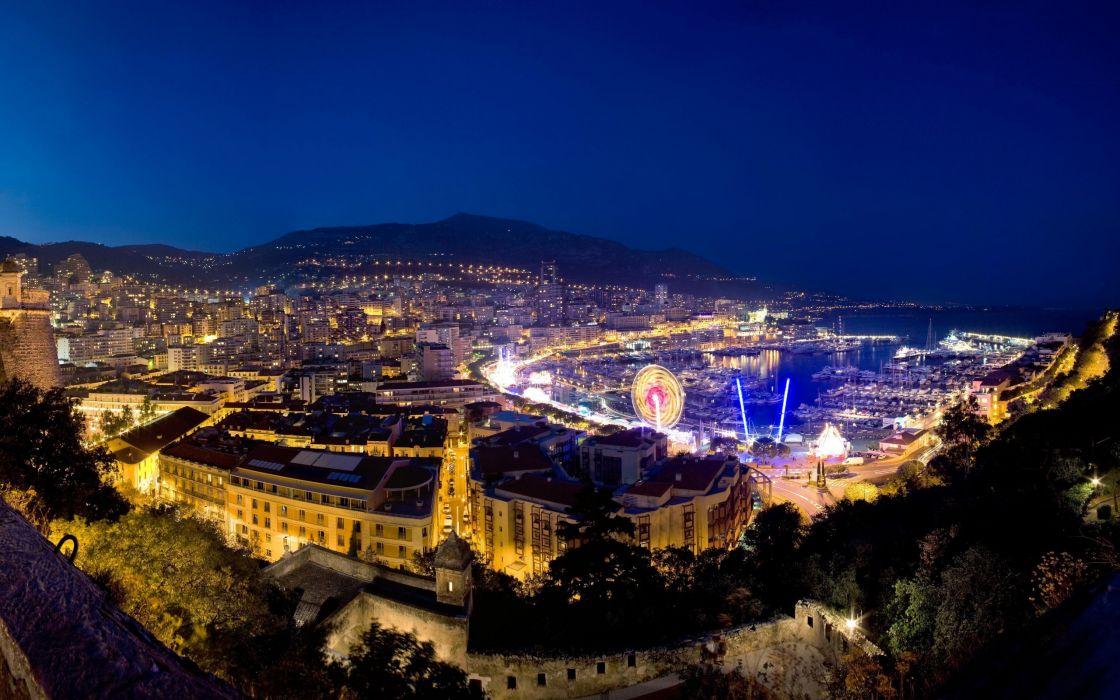 Monaco port marina harbor world architecture buildings ferris night hdr lights mountains hills sky wallpaper