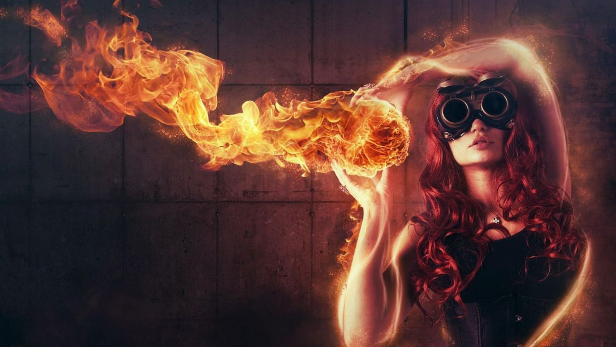 manipulation cg digital art fire flames goggles redhed situation mood emotion psychedelic fantasy women females girls babes sexy sensual models heat hot wallpaper