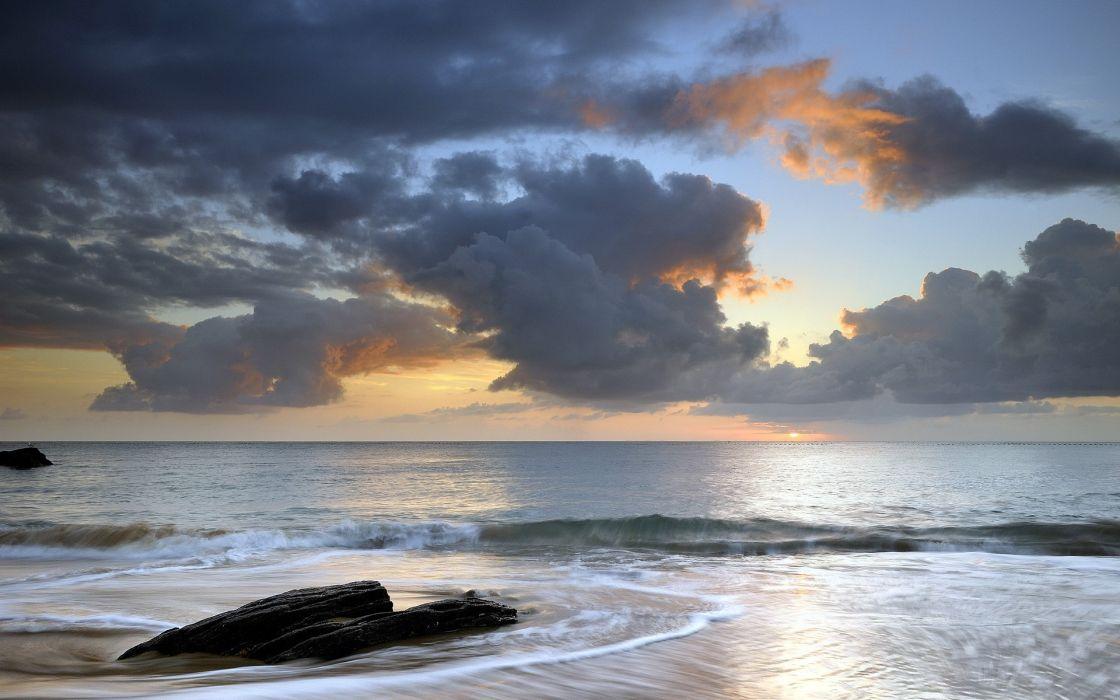 nature seascape ocean sea waves beaches sky clouds sunset sunrise sunlight wallpaper