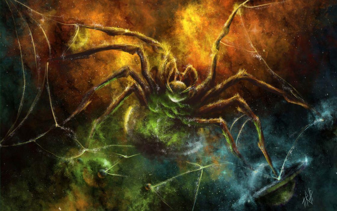 dark horror scary creepy spooky spire web sci fi science fiction nebula stars planets psychedelic wallpaper