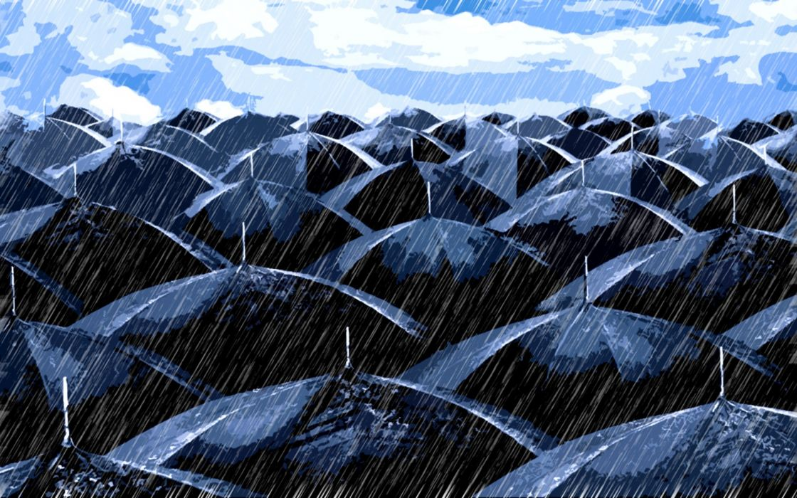 mood rain art vector umbrella sky clouds situation storm weather wallpaper