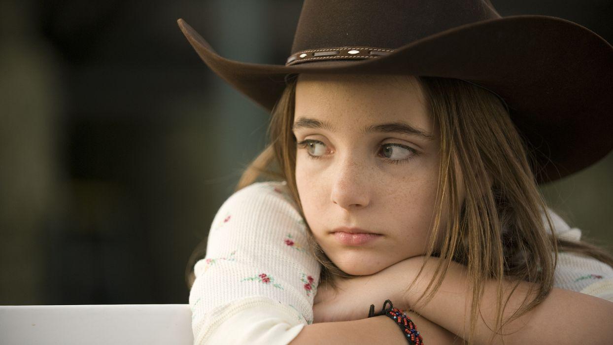 mood girls females face eyes cowboy wallpaper