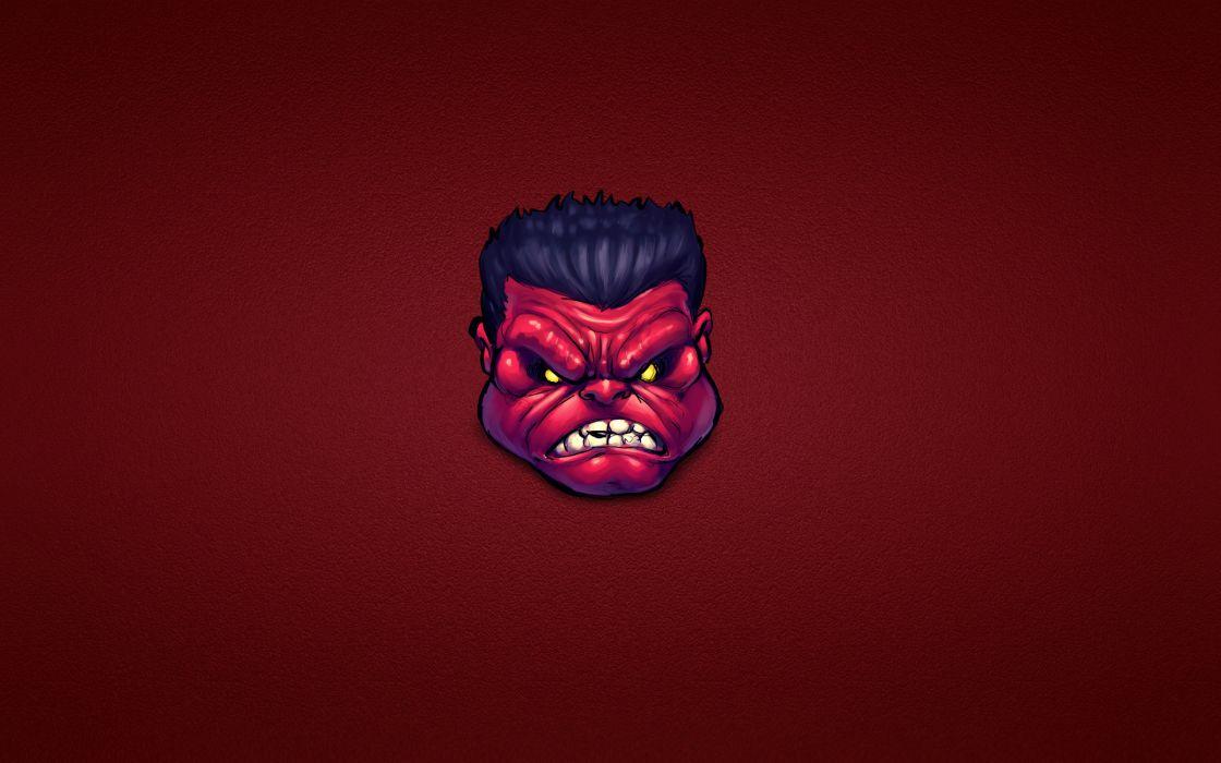 Red Hulk comics Marvel minimalism face eyes pov art wallpaper