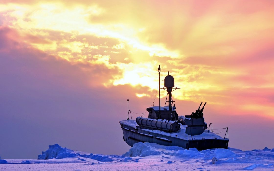 vehicles ships boats navy military weapons guns cannons nature ocean sea ice sky clouds sunset sunrise ice wallpaper