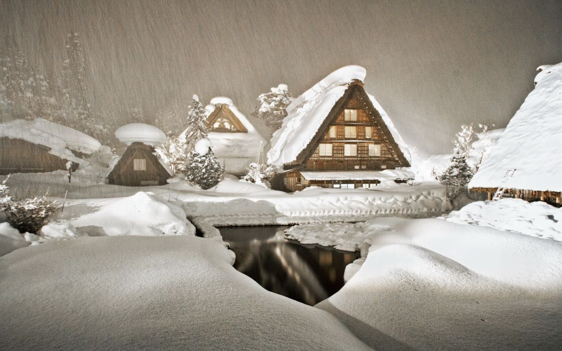 world architecture houses buildings cabins streams water reflection nature landscapes winter snow snowing flakes drops storm blizzard wallpaper
