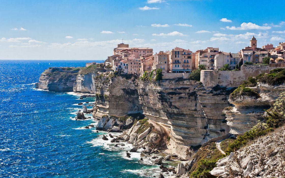 Corsica world achitecture buildings town houses apartments shore coast ocean sea sky clouds wallpaper