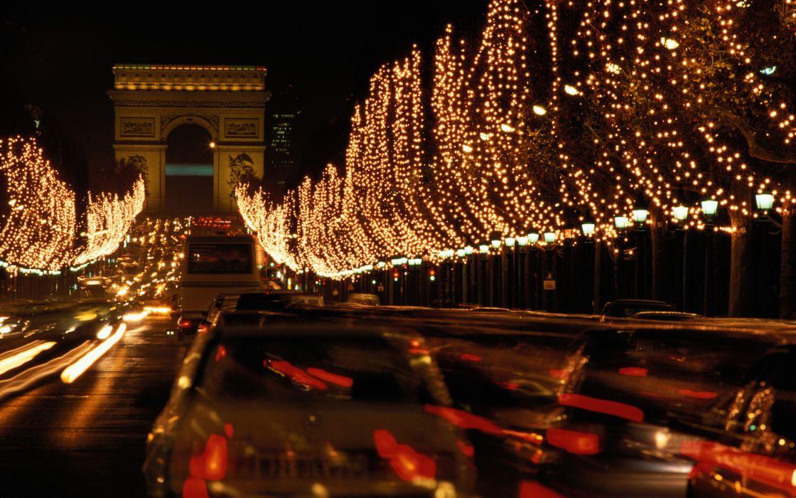 New Year's Eve 2013 In Paris france Arc de Triomphe Avenue des Champs-elysees traffic roads timelapse lapse vehicles cars monument trees light night architecture world buildings wallpaper
