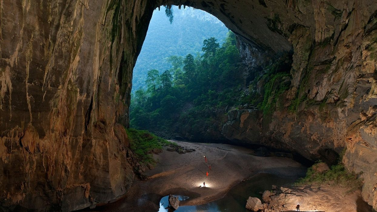 Son Doong Cave nature landscapes caves trees forest jungle cliff stone walls people wallpaper