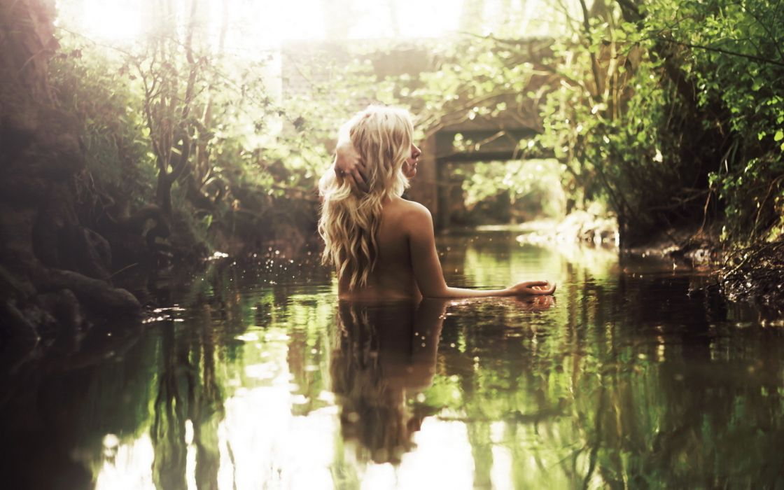 mood emotion bokeh women females girls babes sexy sensual models blondes nature rivers streams water reflection nude soft bridges architecture wallpaper