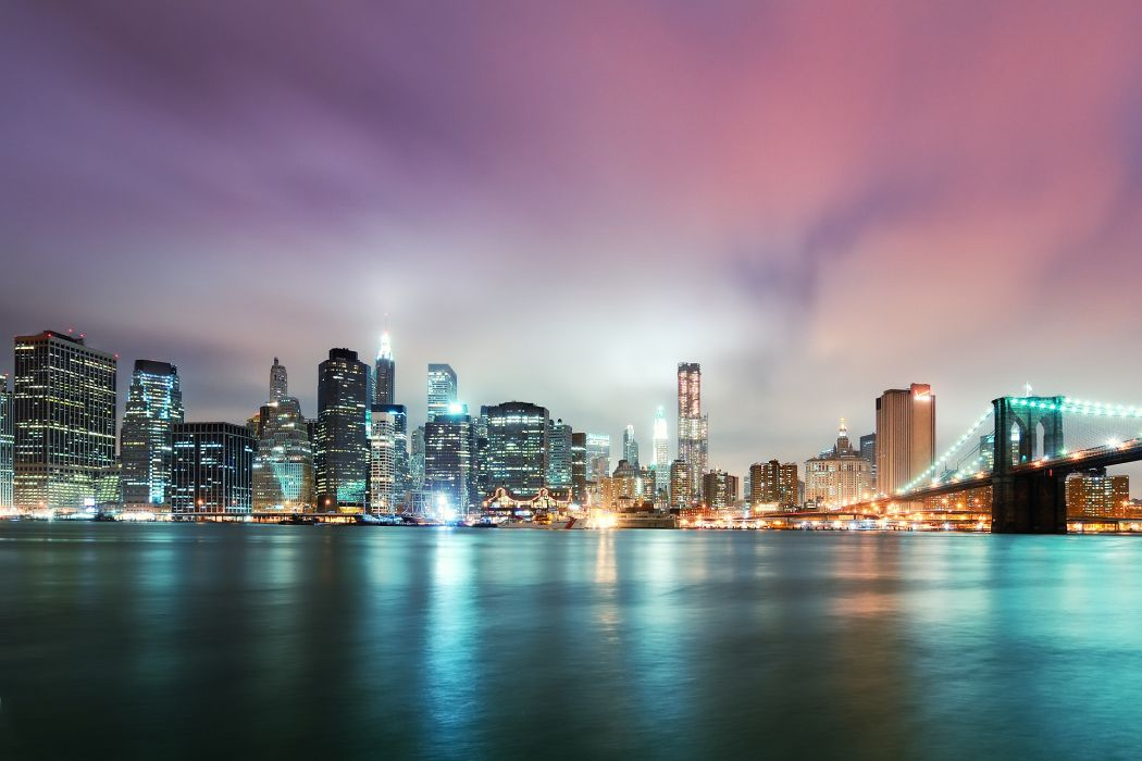 NYC Brooklyn Bridge new york world architecture cities skyline cityscape rivers water reflection night buildings skyscraper lights window sky clouds hdr wallpaper