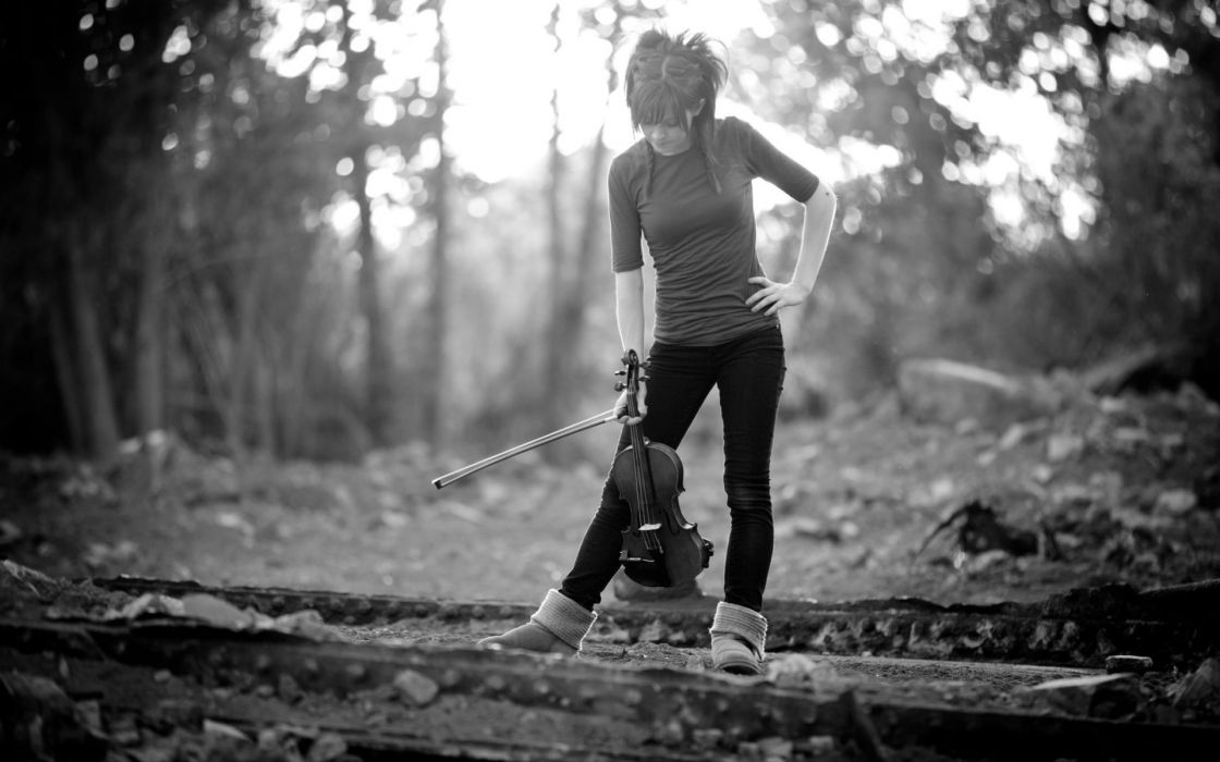 Lindsey Stirling music musician violin musical instrument black white women females girls babes sexy sensual nature trees landscapes wallpaper