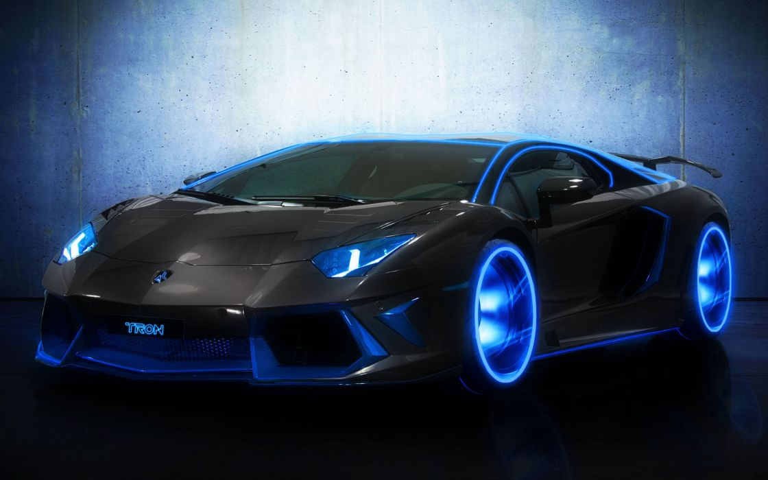 Lamborghini Aventador movies tron manipulation cg digital art neon blue exotic supercar wheels black tuning wallpaper