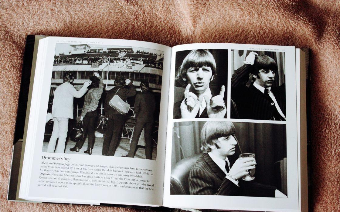 The Beatles band group black white books retro photography wallpaper